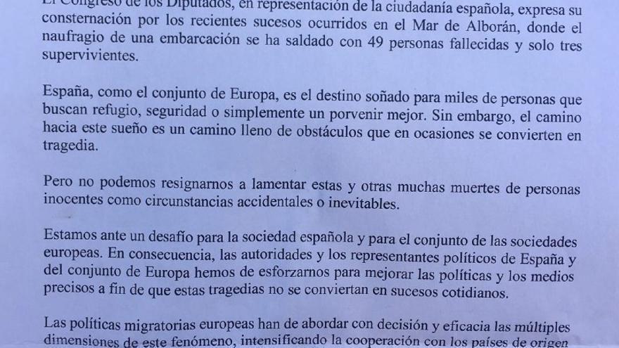 Declaración institucional propuesta por el PSOE sobre las 49 muertes de inmigrantes en el Mar de Alborán.