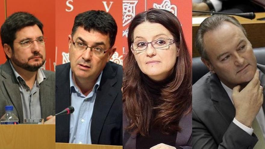 Sanz y Blanco (EU), Morera y Oltra (Compromís) y Fabra y Bonig (PP)
