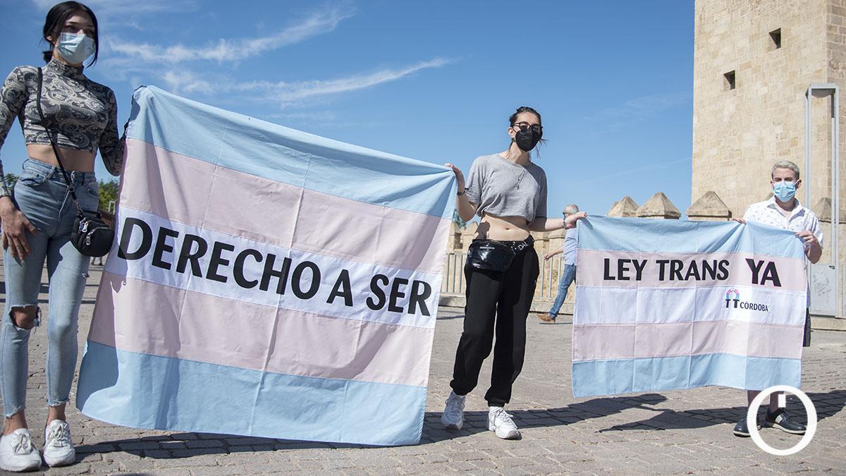 Imagen de una concentración en Córdoba por una Ley Trans Integral