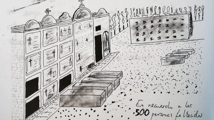 Dibujo que recrea la acumulación de féretros en el cementerio de Crevillent en el mes álgido de la gripe; realizado por Emilio Martínez.