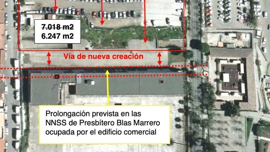 Medición de las parcelas y ocupación de la calle Presbítero Blas Marrero