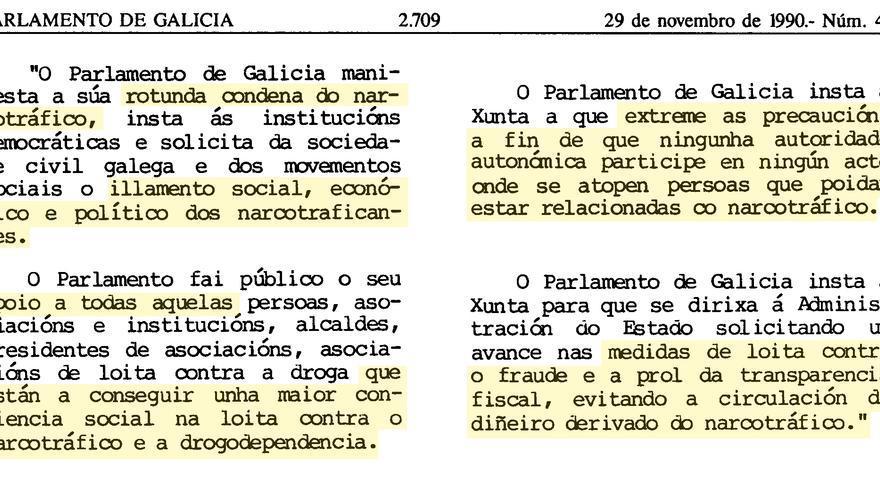 Fragmentos del acuerdo unánime contra los narcos aprobado en el Parlamento gallego el 29 de noviembre de 1990