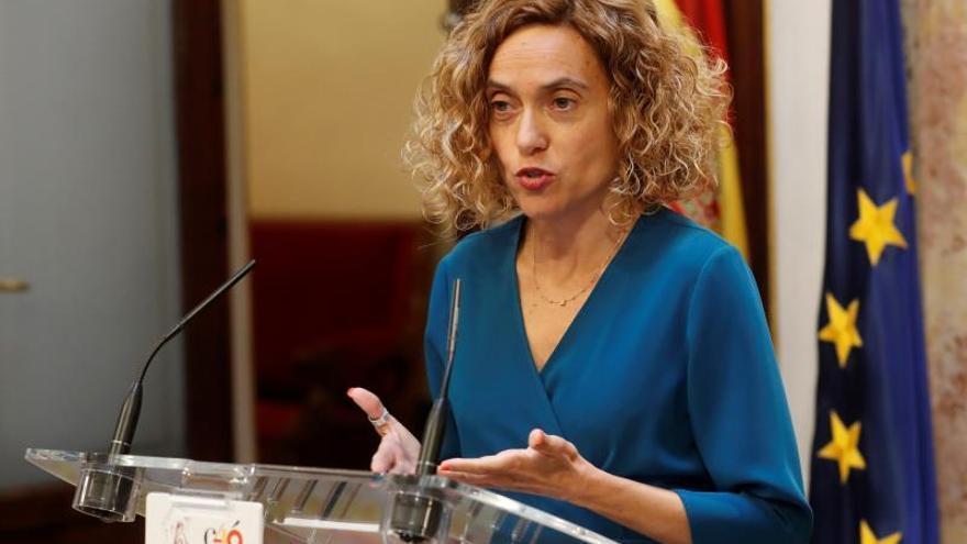 La presidenta del Congreso, Meritxell Batet, en su primera rueda de prensa tras reunirse con Felipe VI.