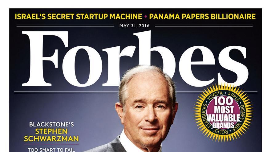 La portada que le dedicó Forbes al promotor del curso, el fundador del fondo Blackstone, Stephen Schwarzman.