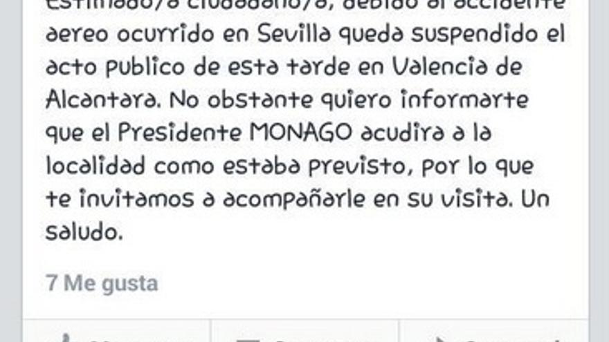 El perfil del PP de Valencia de Alcántara anuncia que Monago mantiene su agenda de visitas, pese a que la campaña ha quedado suspendida en señal de luto