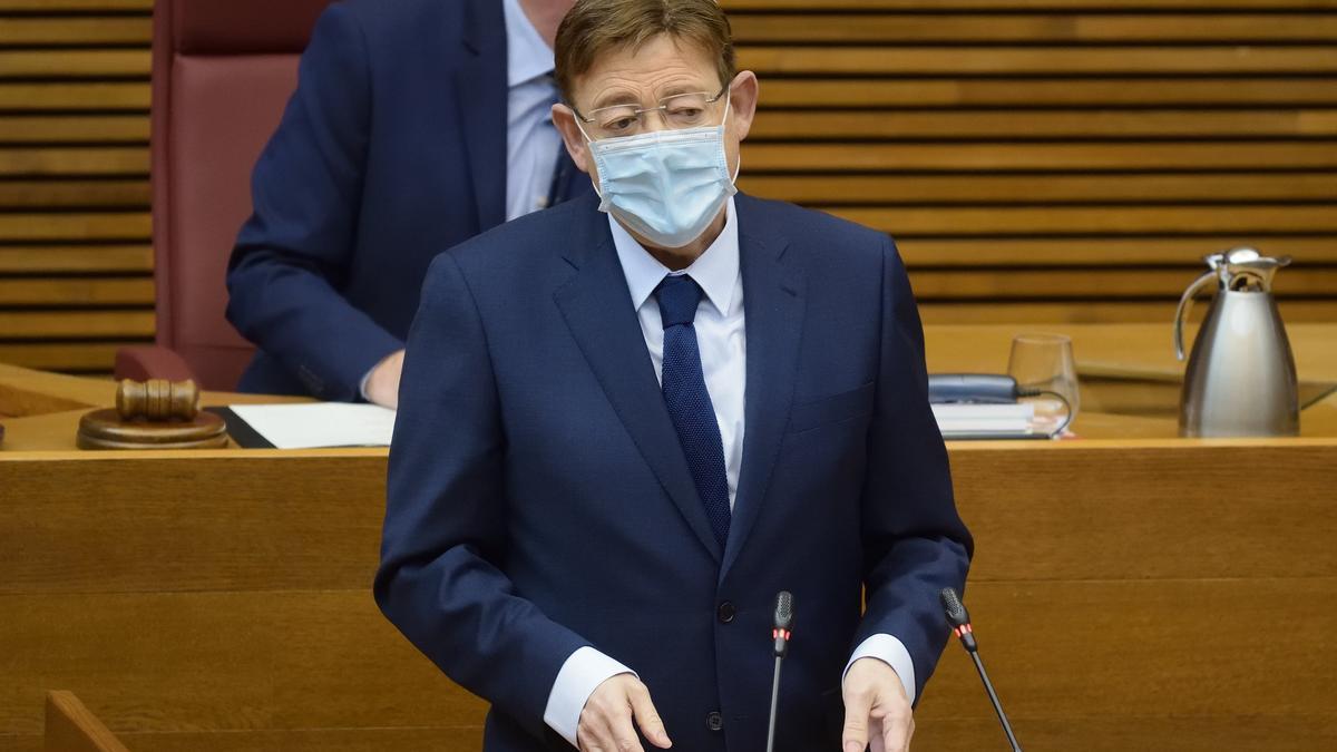 El president de la Generalitat Valenciana, Ximo Puig, durante la sesión de control.