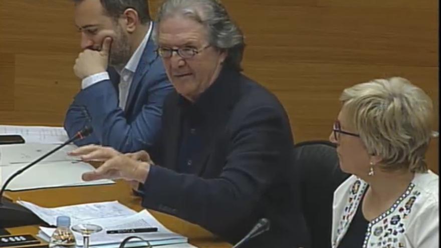 Joan Romero, durante su intervención en la comisión sobre la reforma del Estatut en las Corts Valencianes.
