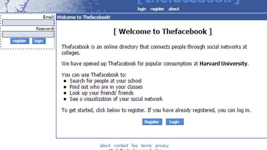 Una de las primeras imágenes de thefacebook.com