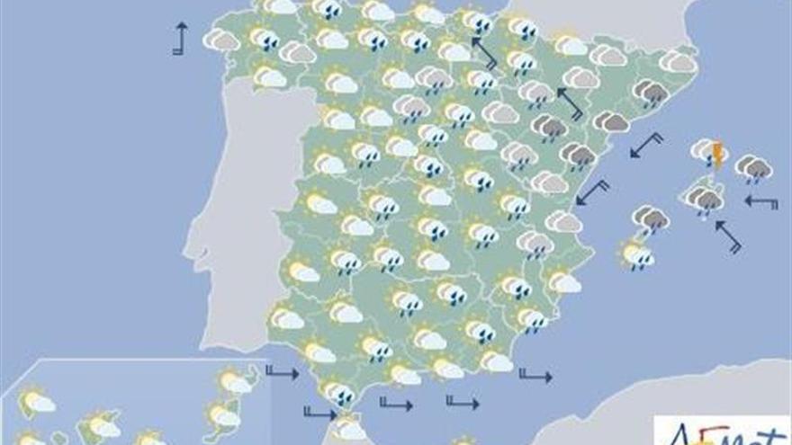 Hoy, lluvias fuertes en Baleares, extremo oeste peninsular y en La Palma