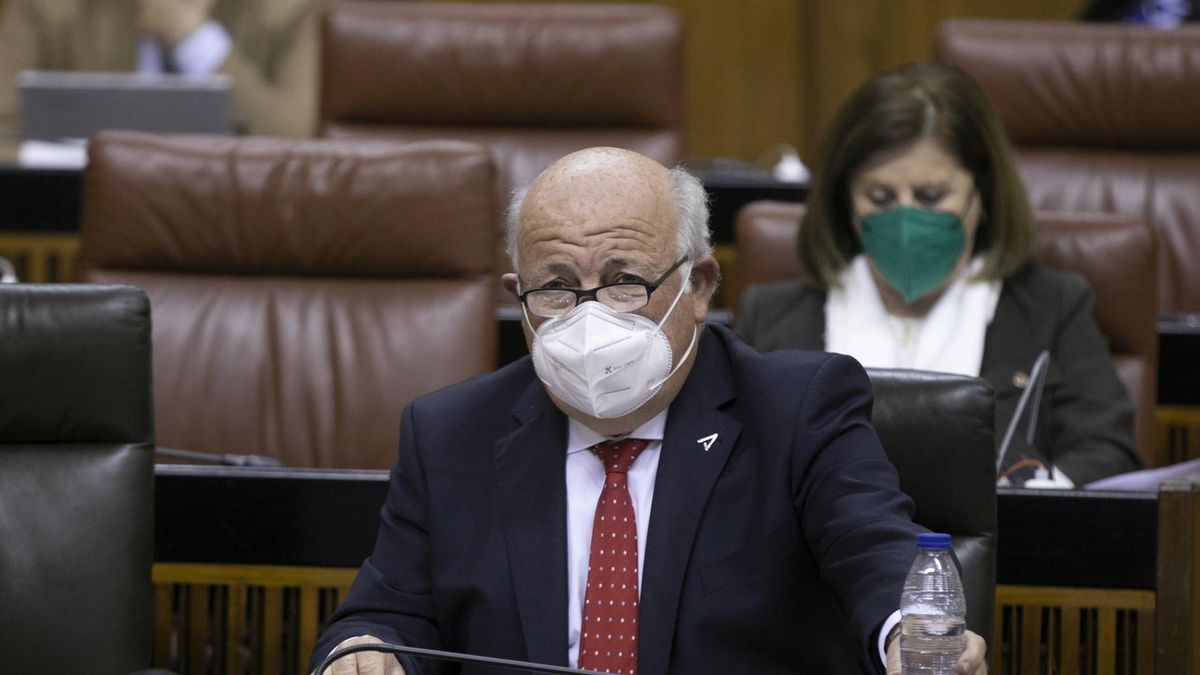 El consejero de Salud y Familias, Jesús Aguirre, en el Pleno del Parlamento,