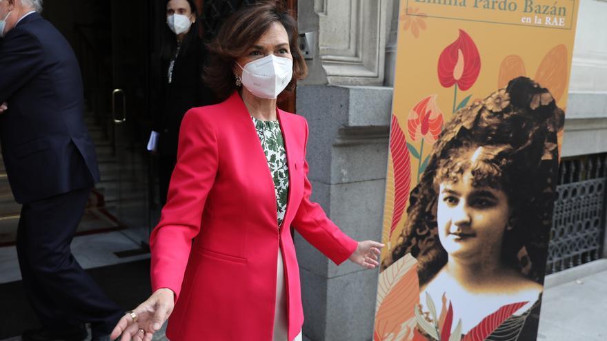 La vicepresidenta primera del Gobierno, Carmen Calvo, momentos antes de inaugurar una jornada literaria sobre Emilia Pardo Bazán en la Real Academia Española