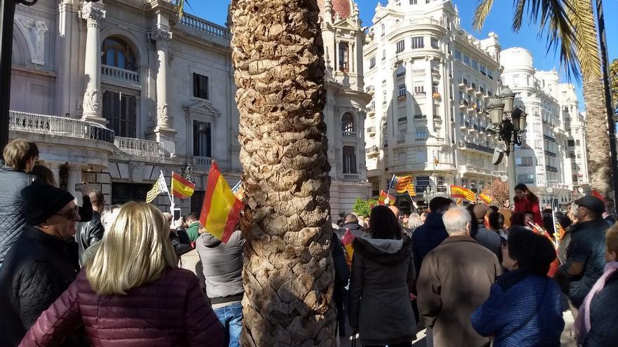 El grupo de ultras que ha tratado de reventar la cabalgata de las Magas de Enero exhibe banderas españolas ante el Ayuntamiento de Valencia.