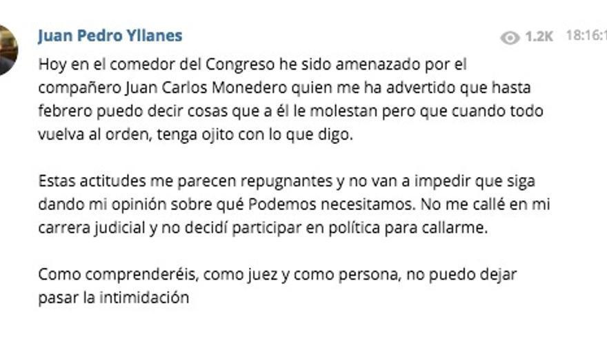 El mensaje de Telegram de Juan Pedro Yllanes en el que denuncia la amenaza de Monedero.