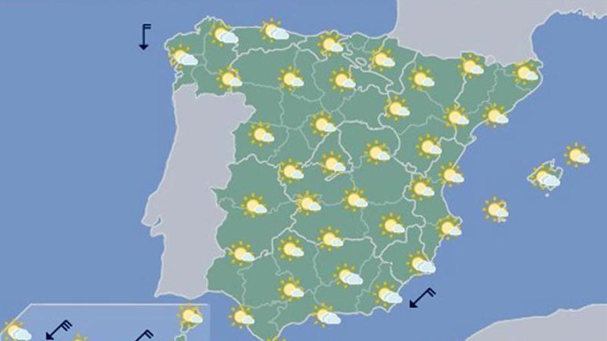 Hoy, pocas nubes y temperaturas al alza en toda España