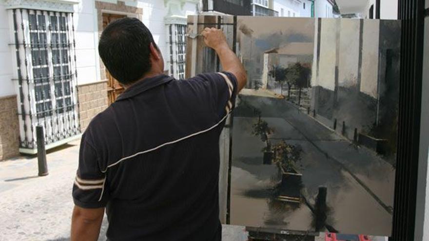 Participante en el concurso de pintura rápida de Ubrique.
