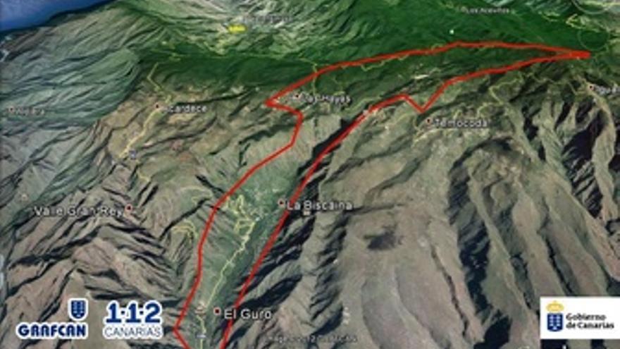 Perímetro del incendio de La Gomera tras la reactivación