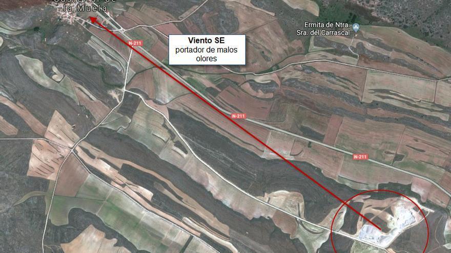 Plano de los terrenos donde se emplazará la macrogranja porcina, a escasos kilómetros de la población de Castellar de la Muela (Guadalajara)