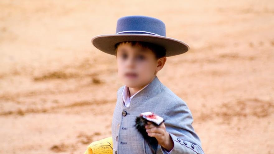 Niño de una escuela de tauromaquia con la oreja cortada a un becerro. Foto: AVATMA
