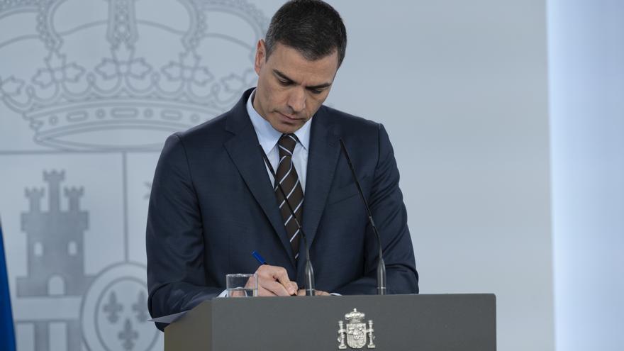 Pedro Sánchez durante su comparecencia del sábado 23 de mayo.