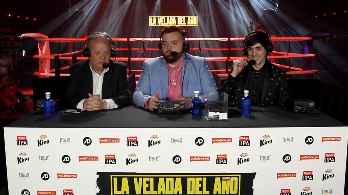 Jaime Ugarte, Ibai Llanos y Ander Cortés, durante 'La velada del año'
