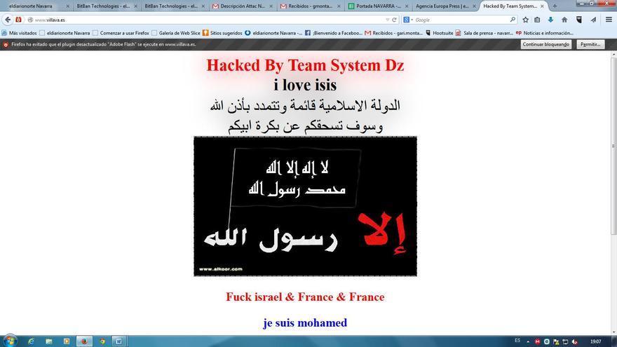 Este es el aspecto que presenta una de las web 'hackeadas'.