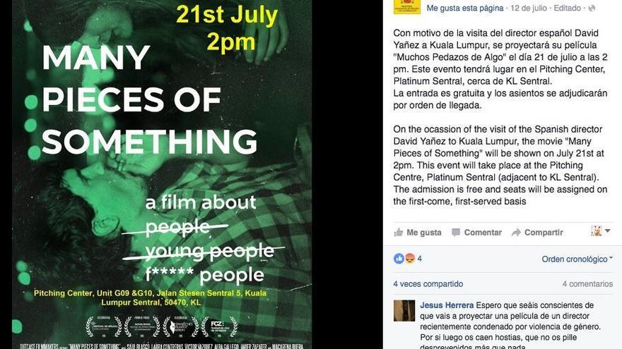 Publicación del Facebook de la Embajada española en Malasia