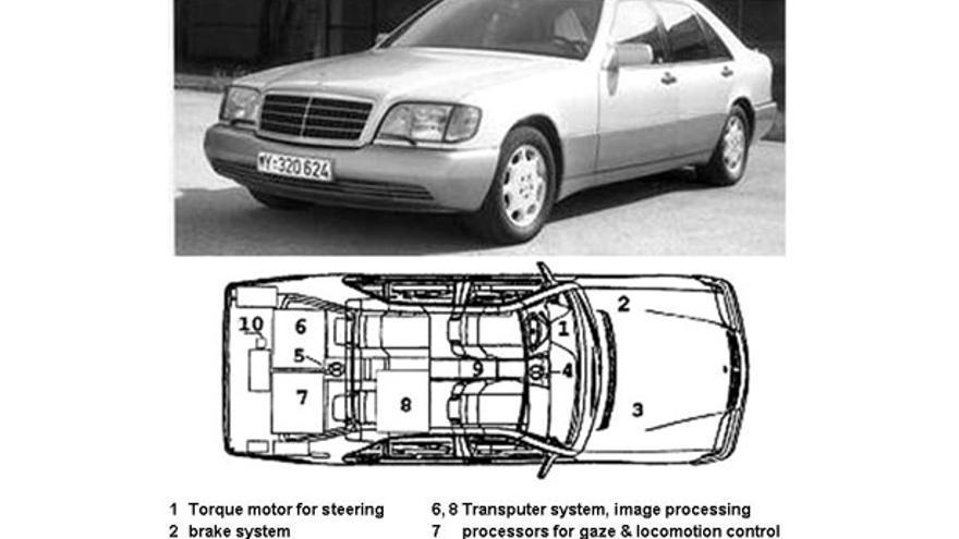 El Mercedes autónomo de Dickmanns en los 90