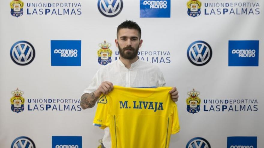 Marko Livaja en su presentación con la Unión Deportiva Las Palmas