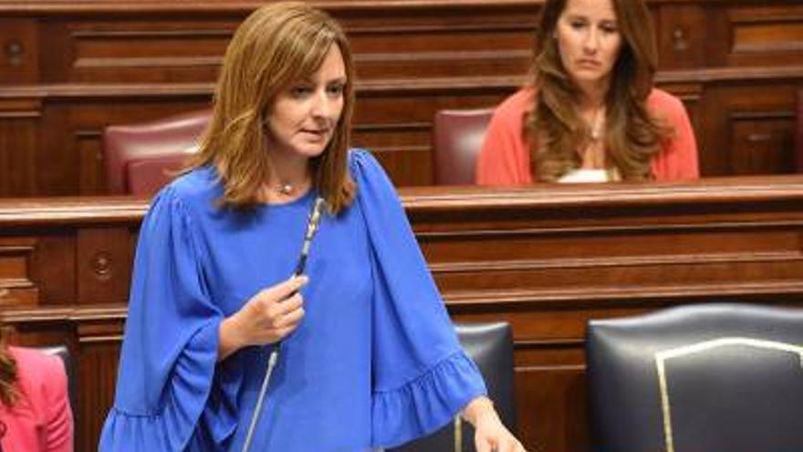 Nieves Lady Barreto, consejera de Política Territorial, Sostenibilidad y Seguridad del Gobierno de Canarias, este martes, en el Parlamento regional.