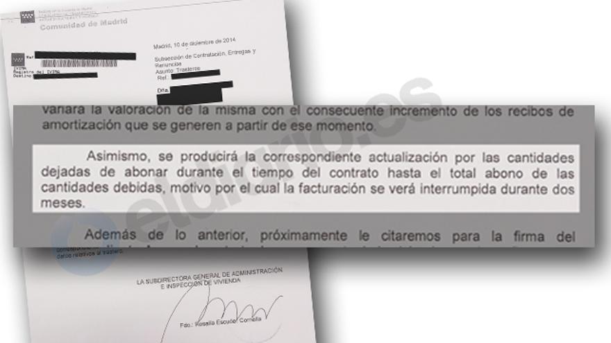 Detalle de la carta recibida por uno de los afectados.