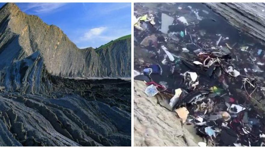 El Flysch de Zumaia con basura y sin ella