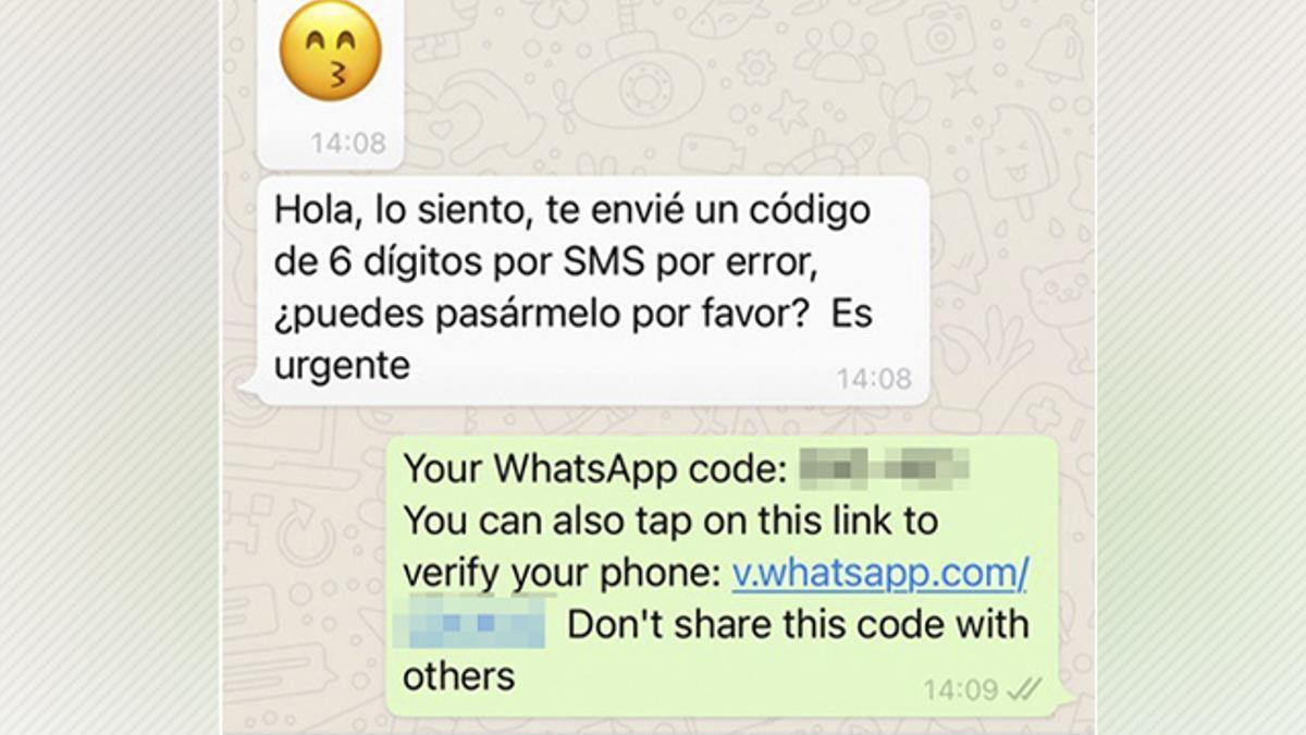 Mensaje de gancho contra una de las víctimas de los robos de cuenta en WhatsApp.