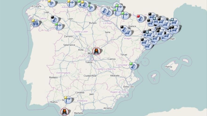 Asi Muestra El Mapa De La Dgt Todos Los Cortes De Carreteras En
