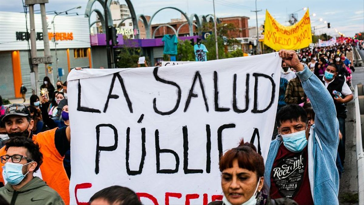 Protesta de trabajadores de la salud en Neuquén