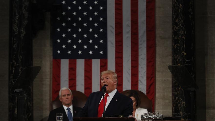 Donald Trump durante el discurso del Estado de la Unión celebrado este martes en la Cámara de Representantes.