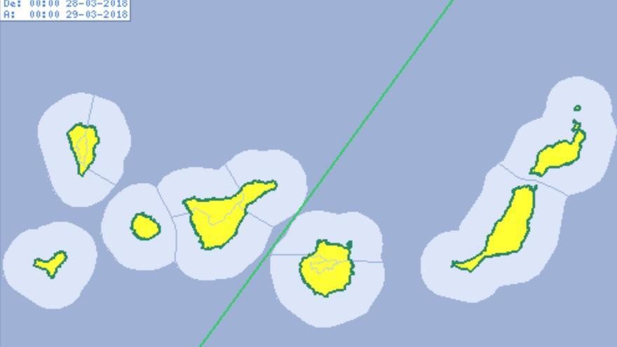 Aviso amarillo por calima para este miércoles, 28 de marzo en Canarias.