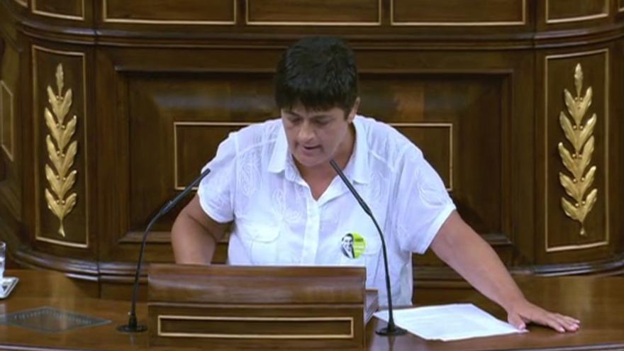La portavoz de Bildu en el Congreso, Marian Beitialarrangoitia, luce una chapa de Otegi.