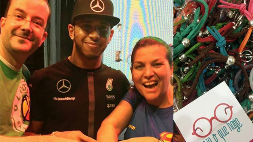 El piloto Lewis Hamilton con la pulsera de 'Mia o que hago'.