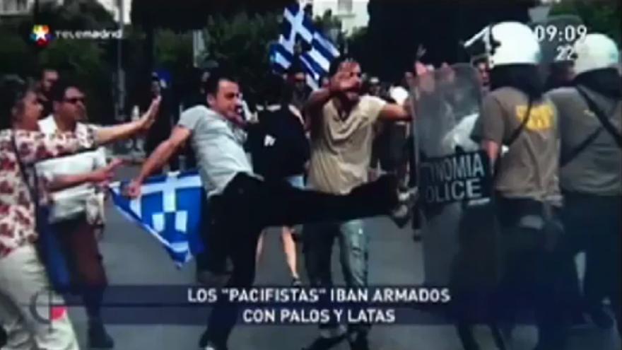 Telemadrid ilustra los altercados del 15-M