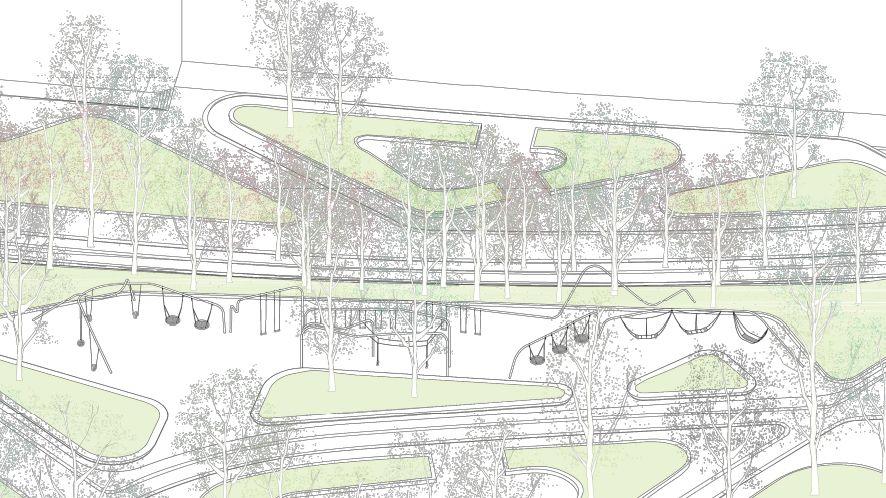 Distribución de los columpios en el proyecto de Plaza Españ