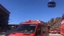 Estación base del teleférico del Teide, esta mañana de sábado, tras producirse el incidente que paró el servicio
