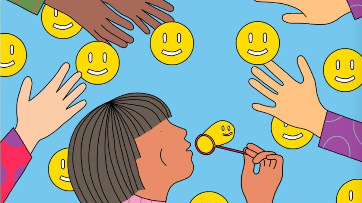 """Ilustración de """"Cómo construir una vida"""", una columna de la revista The Atlantic, que habla de la curiosidad como motor de la felicidad"""