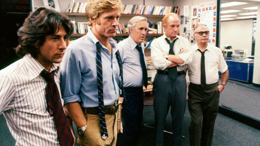 Robert Redford, Dusting Hoffman y el resto de la redacción del Washington Post