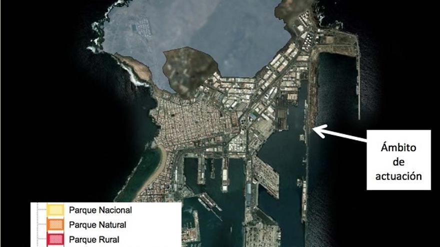 Vista aérea del puerto de la Luz y de Las Palmas.