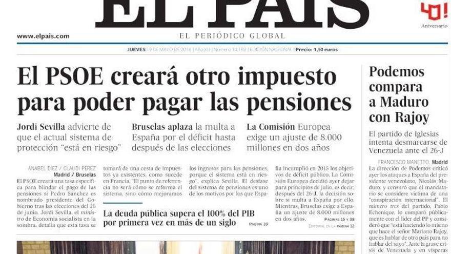 Portada de El País del 19 de mayo de 2016
