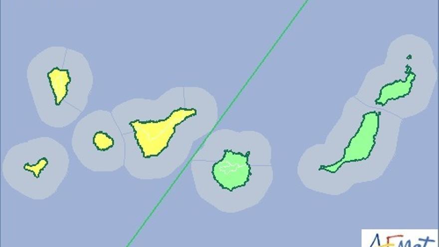 Mapa de la Aemet de aviso amarillo de riesgo meteorológico por lluvia para este domingo.