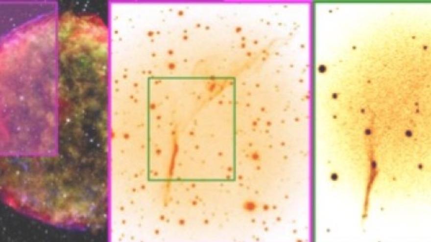 Izquierda. Imagen compuesta del resto de la supernova de Tycho Brahe (1572) usando datos del observatorio satélite de rayos X, Chandra (amarillo, verde, azul: créditos NASA/SAO), del observatorio satélite infrarrojo Spitzer (rojo, créditos NASA/JPL-Caltech), y del observatorio de Calar Alto (estrellas, blanco, crédito Krause et al.). El recuadro magenta muestra el campo del instrumento ACAM en el foco Cassegrain del Telescopio William Herschel (WHT) del Grupo de Telescopios Isaac Newton (ING) en ORM, La Palma). Centro, un zoom sobre el campo de ACAM. El recuadro verde muestra el tamaño del campo del espectrógrafo bidimensional GHaFaS . Derecha, la imagen reducida e integrada de GHaFaS en la emisión de hidrógeno ionizado (Ha).