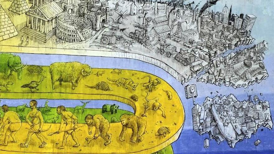 """La civilización cae al vacío en la última obra de """"street art"""" en Roma"""