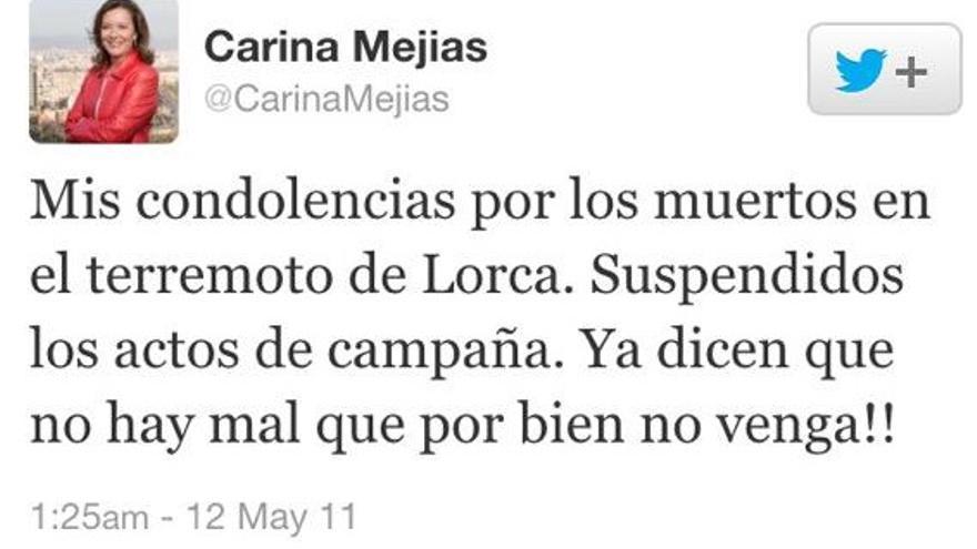 Tuite de la diputada de Ciudadanos Carina Mejías