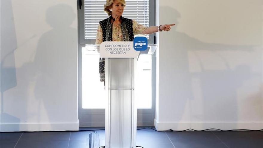 """Aguirre asegura que ella compite """"con la coalición PSOE-Podemos-IU"""""""